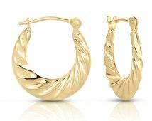 Elegant Fancy Curved Light Weight Hoop Earrings 10k Yellow Gold Hot Trend Best Gift