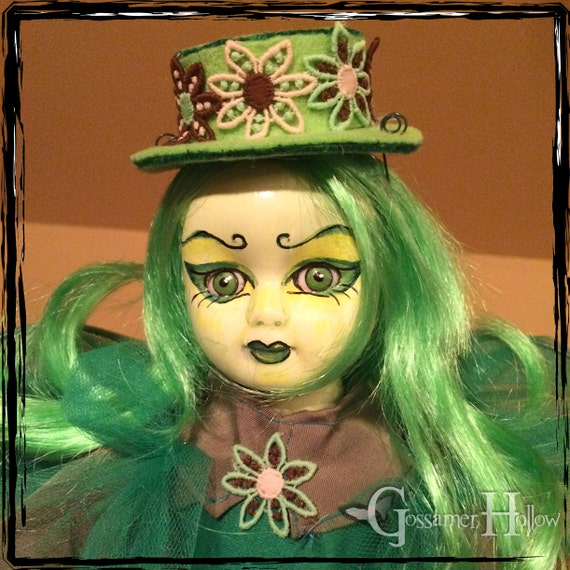 The GREEN FAERY-One of a Kind Creepy Fantasy Goth Horror Absinthe Fairy Pixie Art Doll, with Absinthe Bottle