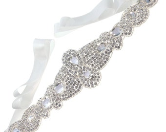 Fabulous Crystal Beaded with Satin Ribbon Tie Bridal Wedding Sash Belt, Off-White