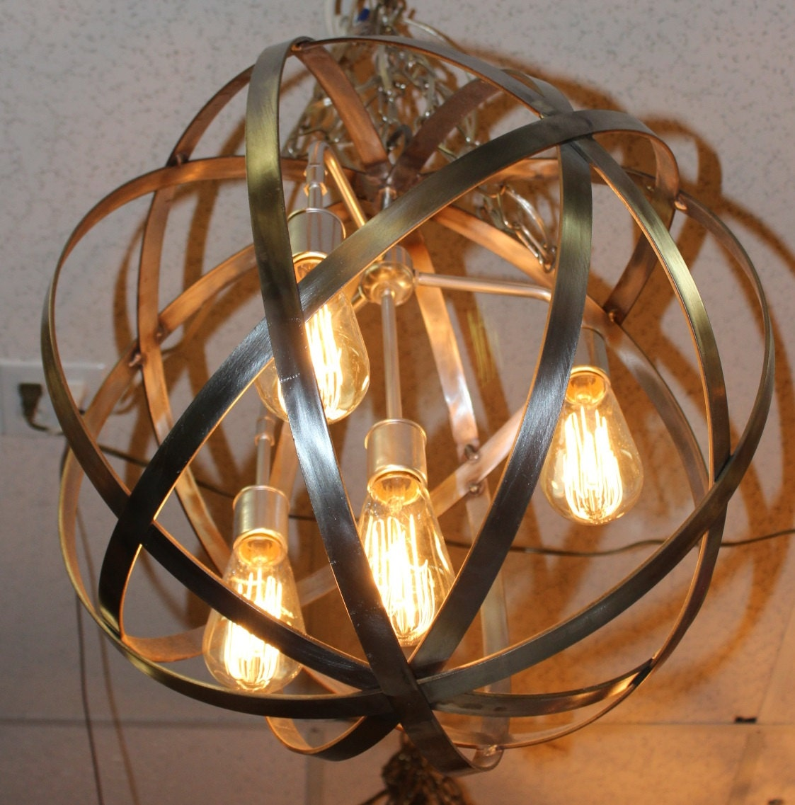 orb chandelier industrial polished sphere by thelightingpalace