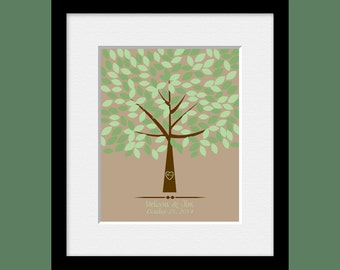 16 x 20 Wedding Tree with 175 Leaves, Guestbook Alternative, Guest Signature Tree, Unique Wedding Guestbook, Keepsake Guestbook Print