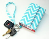 iphone 5 wallet/iphone 4 clutch/iphone 5s wristlet/Galaxy S4 Mini cover/Droid Razor M case/and more - Girly Blue Zig Zag