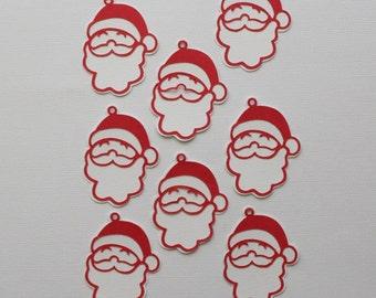 8 Santa Gift Tags / Die Cut / Gift Giving / Christmas Gift Tags / Scrapbooking / Card Making