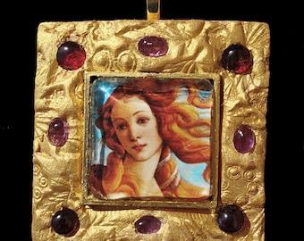 Boticelli's Venus Goddess of Love Pendant Necklace