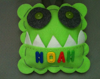 Monster Tooth Fairy Pillow. Boys Tooth Fairy Pillow.  Personalized Monster Tooth Fairy Pillow.