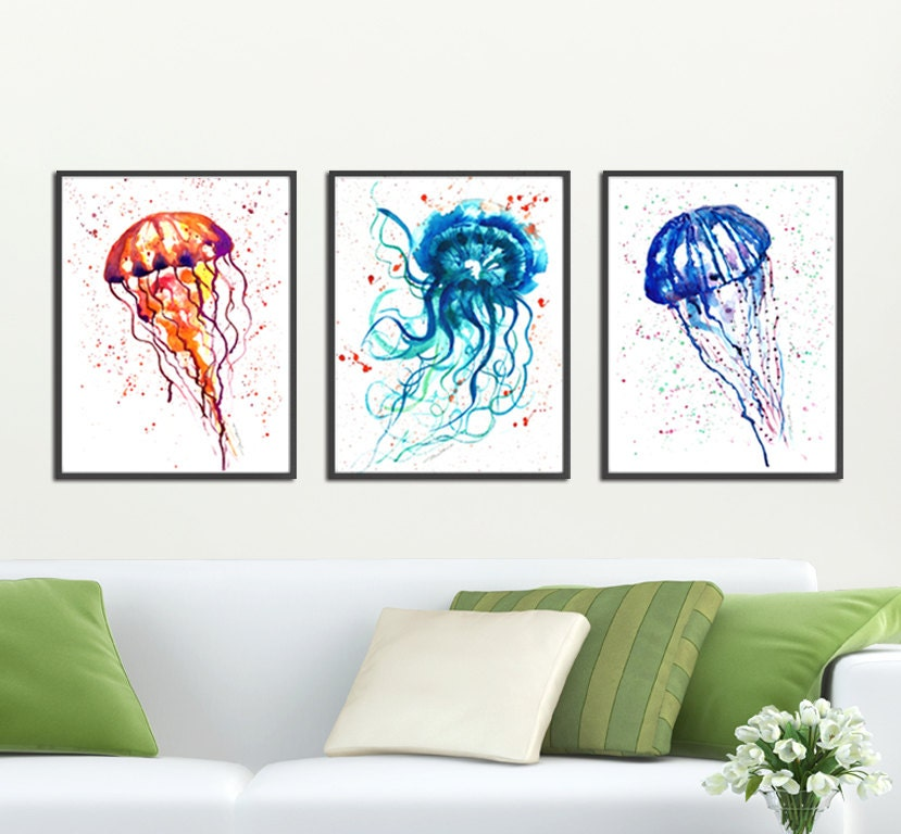 Bathroom Print Jellyfish Watercolor Painting Set Of 3 Prints Nautical Art Prints