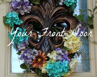 Hydrangea Swag - Fleur De Lis Swag - Fleur De Lis - Hydrangea - Wreath