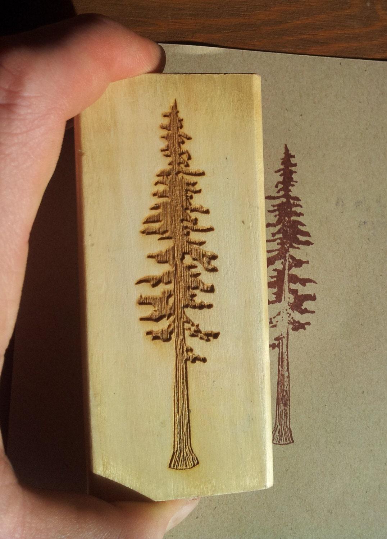 Redwood Tree Laser Engraved Rubber Stamp
