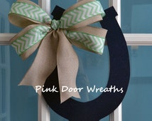 Kentucky Derby Door hanger HORSESHOE navy mint green burlap ribbon bow Derby Party Decor decoration horse stable custom Made to order