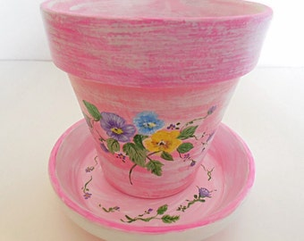 Hand Painted Clay Pots, Terra Cotta Pot, Indoor, Outdoor Planter, Painted Clay Pot, Garden Pot, Painted Flower Pot  - FANCY PANSIES