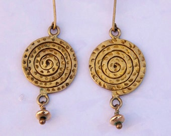 Mycenaean Spiral Earrings - hand textured 18k gold