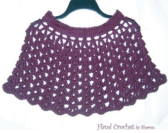 Crochet Capelet, Shoulder Warmer, Purple Poncho, Crochet Shawl, Crochet Purple Wrap, Fashion Accessory