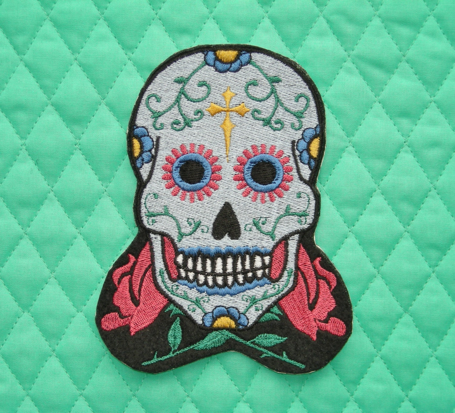 Sugar Skull Iron on Patch Blue w/ Raspberry Red Roses