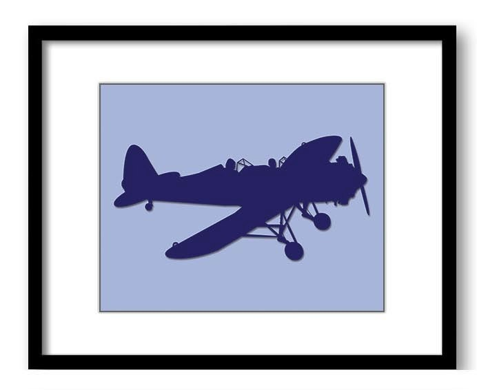 Blue Airplane Blue Sky Boys Art Nursery Art Nursery Print Child Baby Art Print Boys Kids Room Wall A