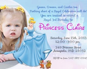 Cinderella Birthday Party Invitation - Digital File