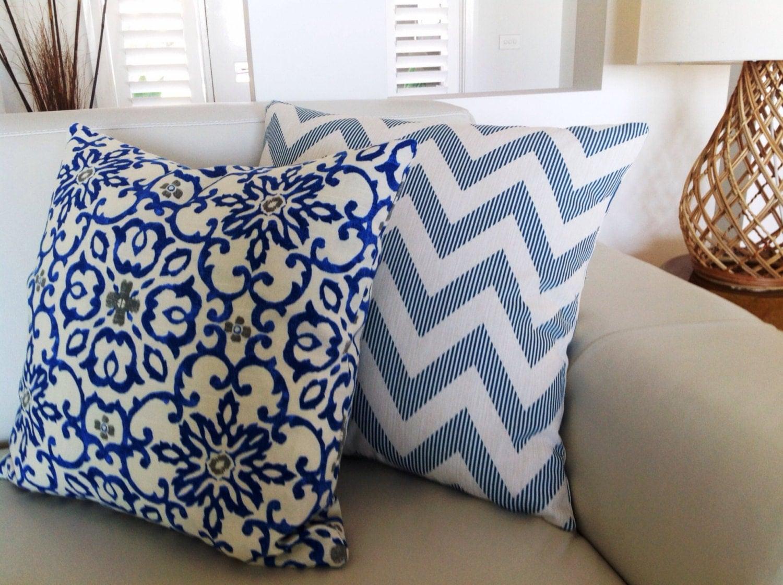 indigo blue bohemian u0026 chevron cushions moroccan pillows