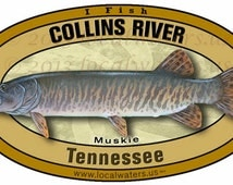 Collins River Muskie Musky Tennessee Durable matte finish outdoor sticker last 3+ years