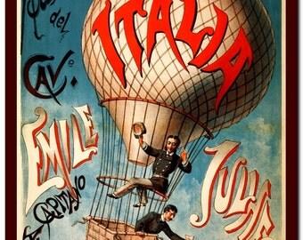 Wall Print Vintage Victorian History  Art Print: Balloon Illustration Art Print