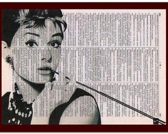 Audrey Hepburn Poster Dictionary Art Print Audrey Hepburn Home Decor: musical Notes Art Print Wall Decor Mixed Media Art