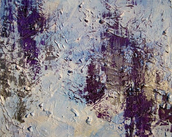 "Medium Abstract Painting, Wall Art, Original, Blue Purple, Home Decor, Acrylic Canvas, Textured, Modern, Contemporary, Landscape, ""BLIZZARD"""
