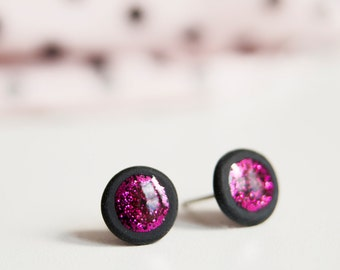 Christmas In July/ 10 mm Pink Glitter Stud Earrings, Glitter Studs, Ear Studs,  Mens Earrings, Tiny Ear Posts, Pink Earring Studs