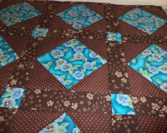 Mini quilt, Candlemat, Pansies, Brown Dots, Ready to Ship, Gift, Table Topper