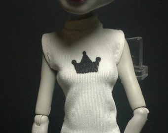 Dolls tops/T-shirt clothes outfit for Monster high doll-White/black Crown No.633