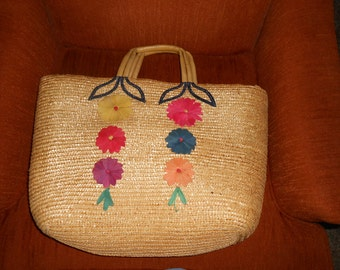 Large Straw Beach Tote with Appliqued Flowers