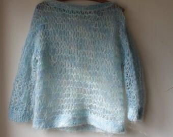 SALE- Pretty pastel Blue Punk' Hand knitted Jumper