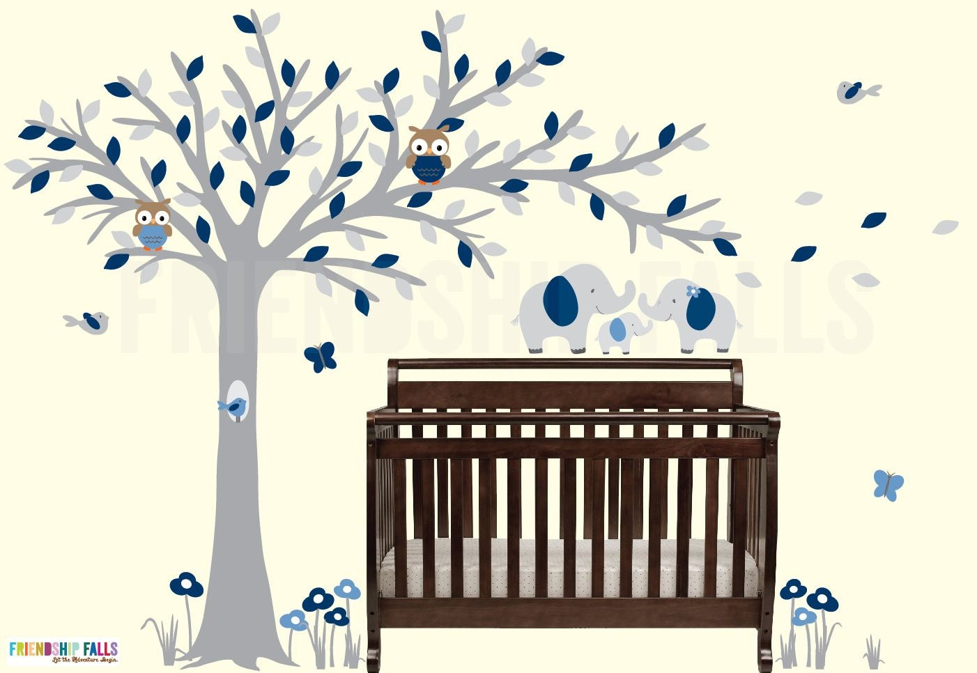 Blowing tree baby elephant decal baby elephant nursery wall zoom amipublicfo Images