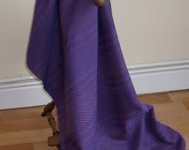 Hand Woven Custom Blanket, Purple and Heather Cotton Blanket, Custom Afghan, Small Throw,Travel Rug, Snuggle Blanket, Made to Order Throw