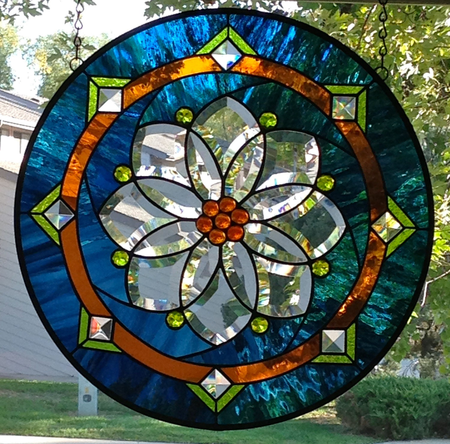 Round stained glass window panel with flower bevel for Art nouveau fenetre