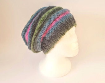 Knitting Pattern For Slouchy Beanie, Instant PDF Download For Unisex Chunky Slouch Hat In English and French.