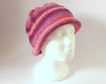 Beanie Hat Maroon, Purple and Pink  - Women's Hand Knit Accessory for Autumn or Winter.