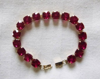 10k yellow gold and checkerboard cut synthetic ruby bracelet