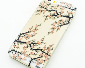 Clear Plastic Case Cover for iPhone 5 5S - Cherry Blossom Japanese Sonata Flower Floral