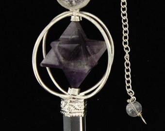 Amethyst Pendulum Big Mercaba and quartz Point
