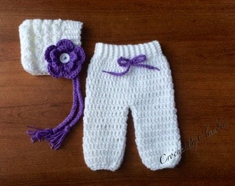 Crochet Newborn Baby Girl Pants and Bonnet with Attached Flower PhotoProp/ Made to Order