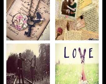 Vintage - Love - Digital Download Sheets - Digital Collage Sheets - Scrabble Sheets - Scrabble Tiles - Vintage Love - Jewelry - DDP494