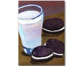 Milk & Cookies - Oreos - Childhood Memories - Nostalgia CARD or PRINT- Kitchen Art - Child's Party Invitation - Retro Art Card (CMEM2013018)