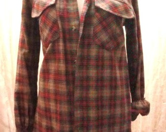 Vintage Beige and Red Plaid Shirt