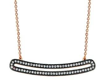 Bar 14k Solid Gold Necklace Smile Necklace Rose Gold Black