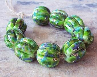 Handmade Lampwork Glass Bead  (2 pcs) - Silvered Green Periwinkle Pumpkin 15 mm x 15-16 mm Hand Formed