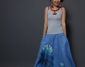 Women's Maxi Skirt Lotus Skirt Long Skirt  Elastic Waist Skirt