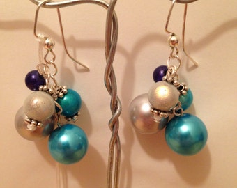 Blue Bead Cluster Earrings