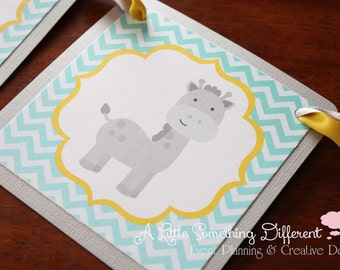 Mint Green Banner with Yellow and Shimmery Gray Accents featuring Giraffe or other custom clip art