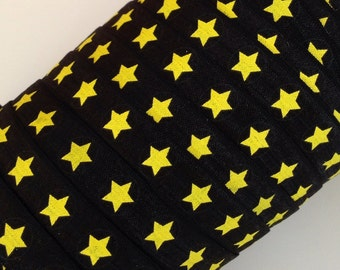 """Yellow Star with Black Outline and Black Circle on Black 5/8"""" Fold Over Elastic 3 or 5 Yards"""