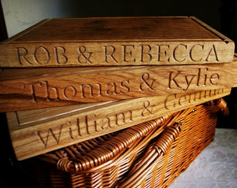 Solid Oak Hand carved Personalised chopping/cutting board