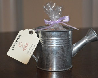 Watering Can Favor- Filled with Bird Seed, Flower Seed, or Tea (10 favors)
