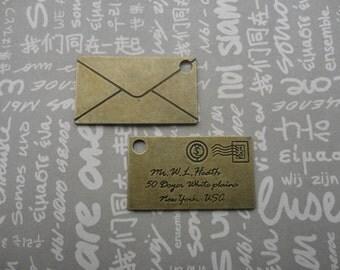 20pcs Antique Brass Metal Charms-letter mail pendants charms--39x22mm--CP368